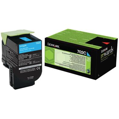 Lexmark 70C20C0 702C Cyan RP Toner Cartridge (1,000 Pages)