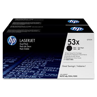 HP Q7553XD 53X High Yield Black Toner Cartridge Multipack (7,000 Pages x 2)