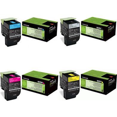 Lexmark CX410TONERVAL 802 Toner Value Pack CMYK (1,000 Pages)