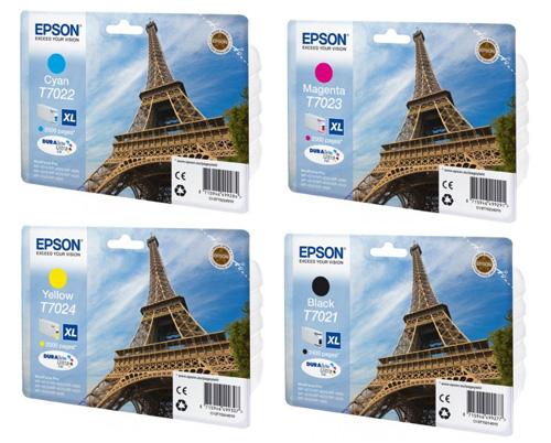 Epson T702X XL Ink Cartridge Bundle pack CMY (2k) K (2.4k)